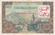 Morocco 50 Dirhams on 5000 Francs OVERPRINT 02-04-1953 - Serial C.659 - VF - P.51