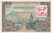 Morocco 50 Dirhams on 5000 Francs OVERPRINT 02-04-1953 - Serial C.673 - VF - P.51