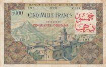 Morocco 50 Dirhams on 5000 Francs OVERPRINT 02-04-1953 - Serial V.425 - VF - P.51