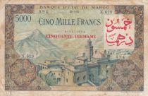 Morocco 50 Dirhams on 5000 Francs OVERPRINT 02-04-1953 - Serial X.619 - F - P.51
