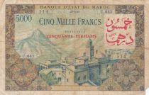 Morocco 50 Dirhams on 5000 Francs OVERPRINT 02-04-1953 - SerialU.645 - G to F - P.51