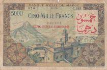Morocco 50 Dirhams ON5000 Francs OVERPRINT 02-04-1953 - Serial C.395 - aFine- P.51