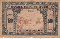 Morocco 50 Francs - 01-03-1944 - Fine - Serial V.284- P.26b