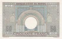 Morocco 50 Francs 18-06-1946 - XF - large type - Serial G.1316 - P.21