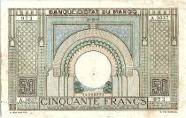Morocco 50 Francs 28-10-1947 - Fine- Serial A.3037 - P.21