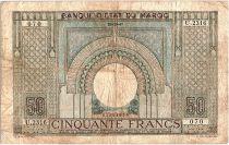 Morocco 50 Francs 28-10-1947 - Fine- Serial U.2316 - P.21