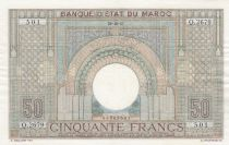 Morocco 50 Francs 28-10-1947 - XF  - large type - Serial Q.2679 - P.21