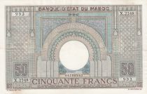 Morocco 50 Francs 28-10-1947 - XF - large type - Serial X.2248 - P.21