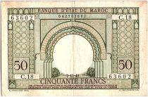 Morocco 50 Francs Gateway - 02-12-1949 - VF - Serial C.18 - P.44