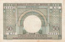 Morocco 50 Francs Gateway - 02-12-1949 - VF - Serial K.12-65402 - P.44