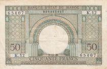 Morocco 50 Francs Gateway - 02-12-1949 - VF - Serial K.12-65407 - P.44