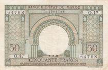Morocco 50 Francs Gateway - 02-12-1949 - VF - Serial Q.17 - P.44