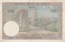 Morocco 500 Francs Hassan garden in  Rabat - 18-07-1949 - VF - Serial T.4 - P.46
