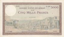Morocco 5000 Francs City of Tangier - 19-04-1951 - Good- Serial o.448 - P.23c