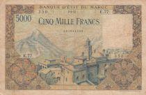 Morocco 5000 Francs Mosque, dam - 02-04-1953 - Serial E.77 - Fine - P.49
