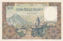 Morocco 5000 Francs Mosque, dam - 02-04-1953 - Serial V.57 - VF to XF - P.49