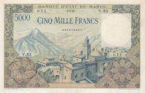 Morocco 5000 Francs Mosque, dam - 02-04-1953 - Serial V.83 - VF - P.49