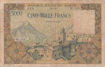 Morocco 5000 Francs Mosque, dam - 23-07-1953 - Serial W.330 - Fine - P.49