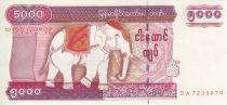 Myanmar  5000 Kyats, Eléphant - Temple - 2009
