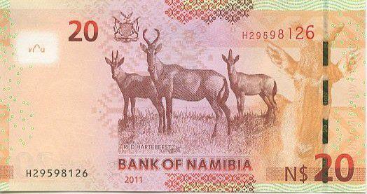Namibia 20 Namibia Dollars Dollars, H.E. Dr Sam Nujoma - 2011