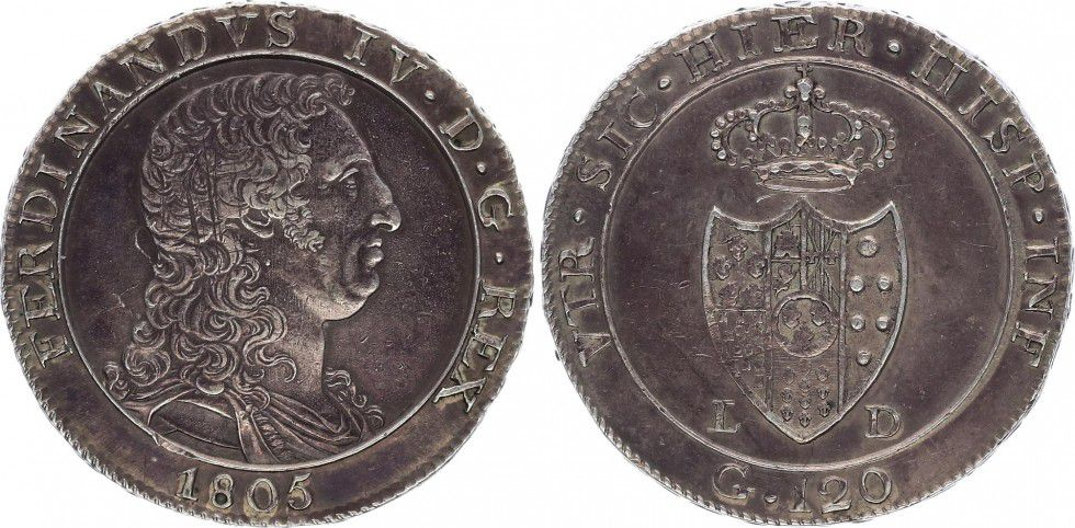 Naples 120 Grana Ferdinand IV - Armoiries 1805