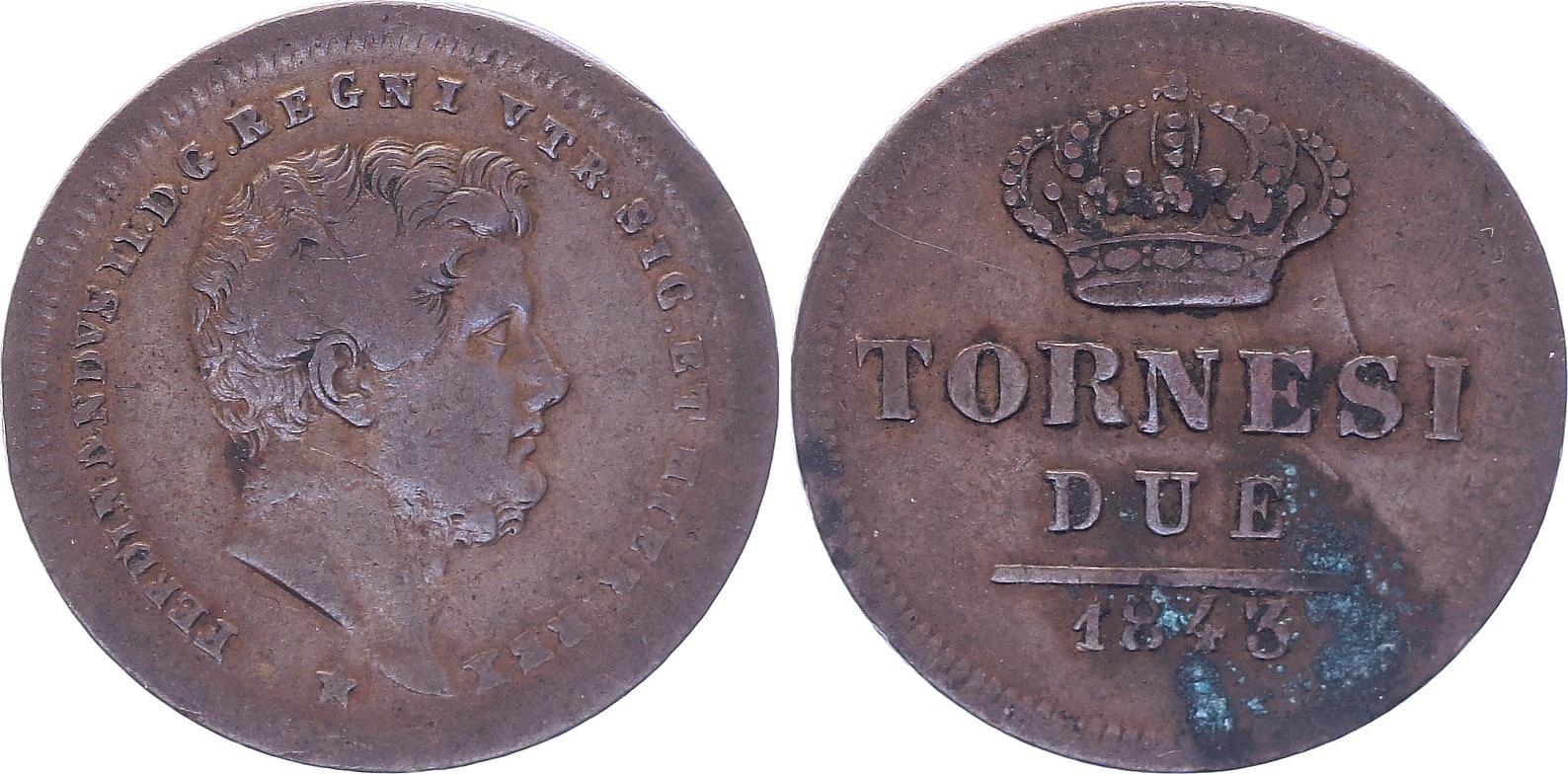Naples et Sicile 2 Tornesi Ferdinand II - 1843 - TTB - KM.397