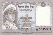 Népal 1 Rupee,  Roi Mahendra Vira Vikama - 1972
