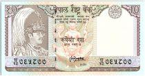 Népal 10 Rupees,  Roi Birendra Bir Bikram, temple - Antilopes - 1987 - P.31 b