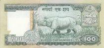 Népal 100 Rupees - Roi B.B. Bikram - Rhinocéros - (1983-1987)