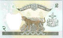 Népal 2 Rupees Roi Birendra Bir Bikram - Léopard - 1981