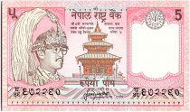 Nepal 5 Rupees, Kg Birendra Bir Bikram, temple - Yaks - 1987 - P.30 a