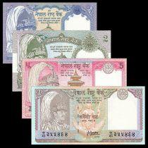 Népal Série 4 billets  - 1 à 10 Rupees - Neuf