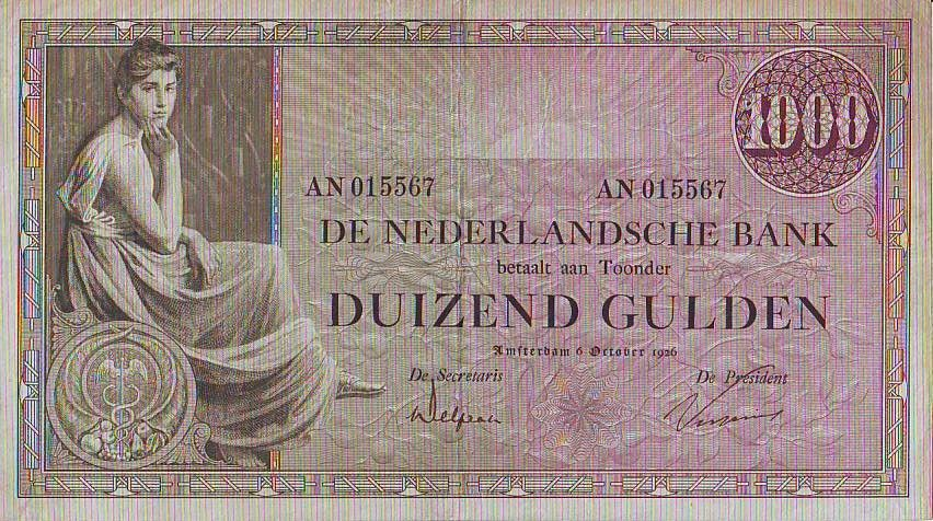 Netherlands 1000 Gulden Woman seated