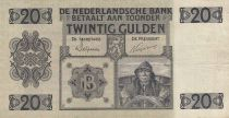 Netherlands 20 Gulden Fish - 1944 Serial BW - VF - P.44