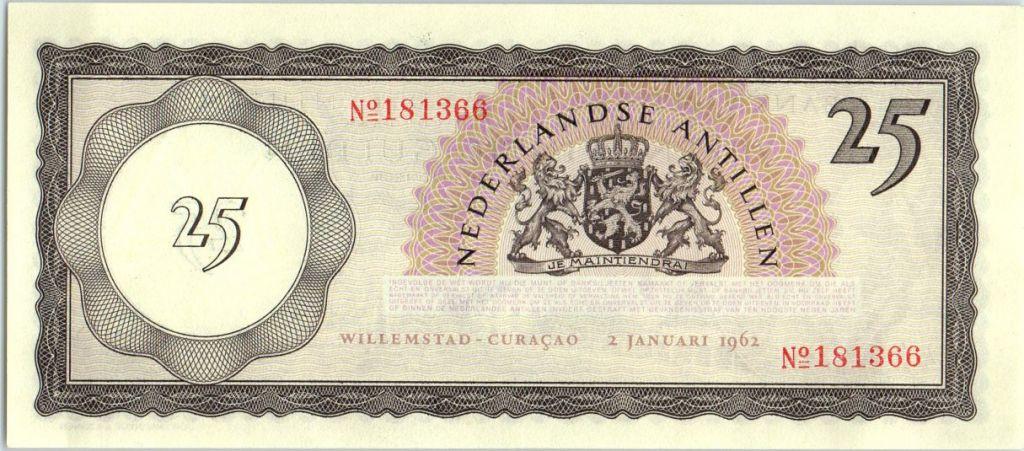 Netherlands Antilles 25 Gulden, View of Curacao - 1962