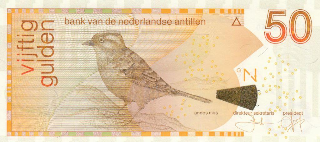 Netherlands Antilles 50 Gulden, Refous-collared sparrow - 2016