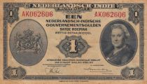 Netherlands Indies 1 Gulden Queen Wilhelmina 1943 - P.111 - Fine