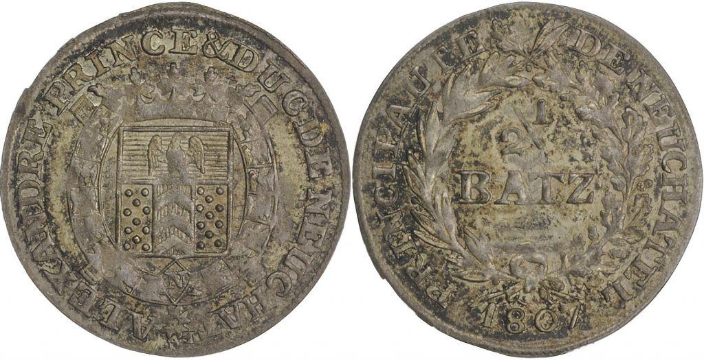 Neuchatel 2\\1 Batzen, Alexandre de Neuchatel - 1807