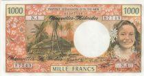 Neuen Hebriden 1000 Francs Tahitian woman - Hut in palm trees - 1980