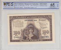 New Caledonia 100 Francs Minerva 1944 Specimen - PCGS MS 65 OPQ
