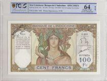 New Caledonia 100 Francs ND1963 Specimen - PCGS MS 64 OPQ