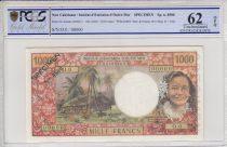 New Caledonia 1000 Francs Tahitian woman - Hut in palm trees - 1969 - PCGS 62 OPQ