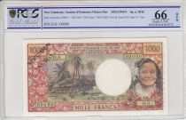 New Caledonia 1000 Francs Tahitian woman - Hut in palm trees - 1969 - PCGS 66 OPQ