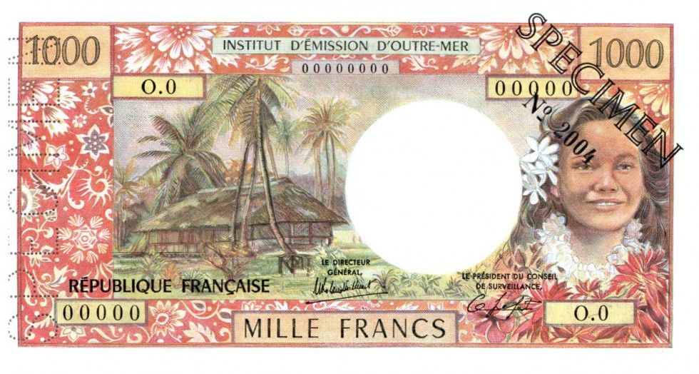 New Caledonia 1000 Francs Tahitian woman - Hut in palm trees