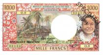 New Caledonia 1000 Francs Tahitian woman - Hut in palm trees