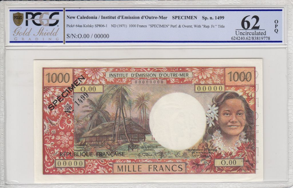 New Caledonia 1000 Francs Tahitienne - Hibiscus - 1971 - PCGS 62OPQ