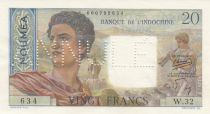New Caledonia 20 Francs ND (1954) - Cancelled Annulé - Serial W.32