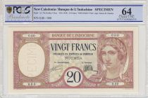 New Caledonia 20 Francs ND1929, Specimen - PCGS MS 64