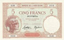 New Caledonia 5 Francs Walhain - Specimen - ND (1937) - P.36