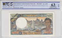 New Caledonia 500 Francs Dugout Canoe  - Specimen - 1969  -  PCGS 63 OPQ